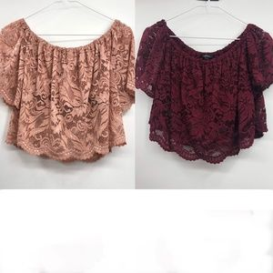 Set of 2 Ambiance Lace off the shoulder crop tops